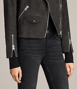 Womens Chine Suede Biker Jacket (Washed Black) - Image 5