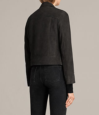 Womens Chine Suede Biker Jacket (Washed Black) - Image 7