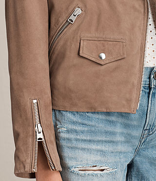 Womens Chine Suede Biker Jacket (MUSHROOM TAUPE) - product_image_alt_text_2