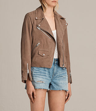 Womens Chine Suede Biker Jacket (MUSHROOM TAUPE) - product_image_alt_text_3