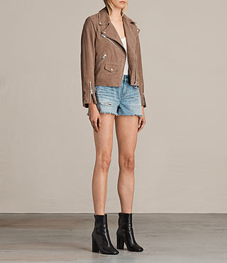Womens Chine Suede Biker Jacket (MUSHROOM TAUPE) - product_image_alt_text_5
