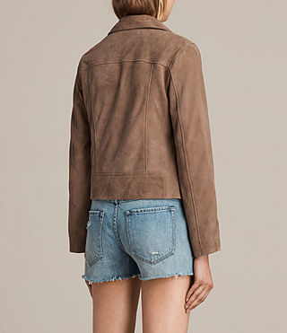 Womens Chine Suede Biker Jacket (MUSHROOM TAUPE) - product_image_alt_text_7