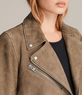 Mujer Chine Suede Biker Jacket (Mushroom) - product_image_alt_text_2