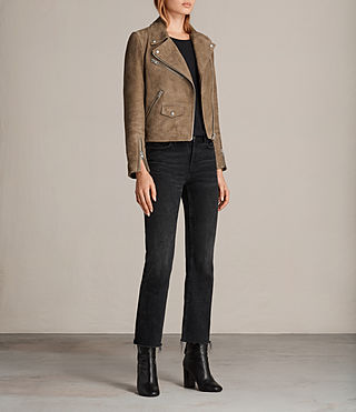 Mujer Chine Suede Biker Jacket (Mushroom) - product_image_alt_text_3