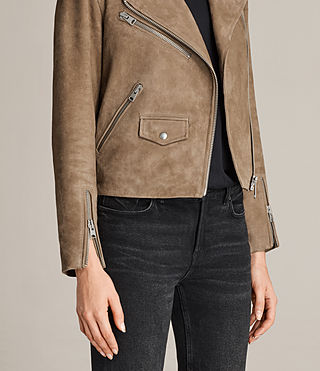 Mujer Chine Suede Biker Jacket (Mushroom) - product_image_alt_text_5