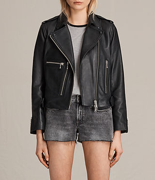 Womens Milne Leather Biker Jacket (Black) - product_image_alt_text_1