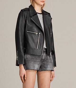 Women's Milne Leather Biker Jacket (Black) - product_image_alt_text_3