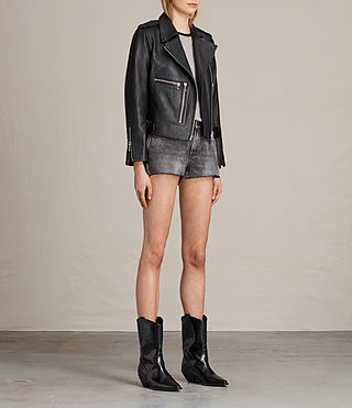Women's Milne Leather Biker Jacket (Black) - product_image_alt_text_5