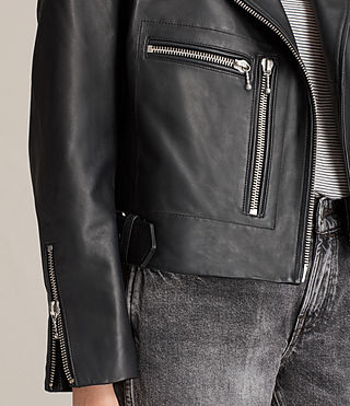 Women's Milne Leather Biker Jacket (Black) - product_image_alt_text_7