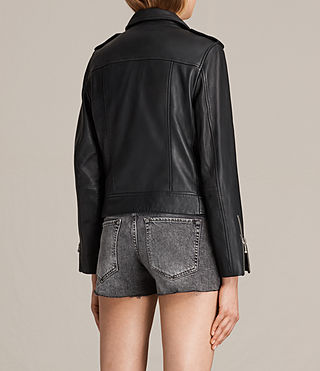 Women's Milne Leather Biker Jacket (Black) - product_image_alt_text_8