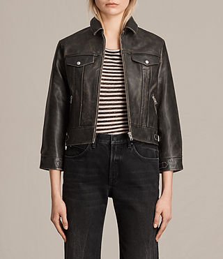Women's Veder Leather Jacket (Vintage Black) -