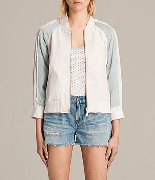 Womens Varley Leather Bomber Jacket (WHITE/LUNAR BLUE) - product_image_alt_text_1