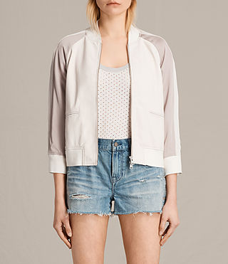 Womens Varley Leather Bomber Jacket (WHITE/WASHED PINK) - product_image_alt_text_1