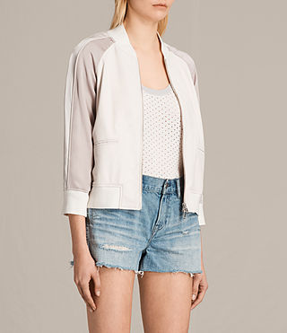 Womens 발리 보머 재킷 (WHITE/WASHED PINK) - product_image_alt_text_4