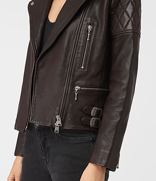 Womens Armstead Leather Biker Jacket (Oxblood) - product_image_alt_text_4