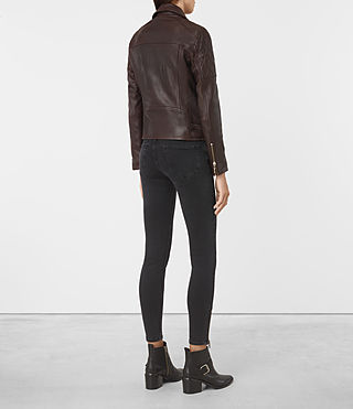 Womens Armstead Leather Biker Jacket (Oxblood) - product_image_alt_text_5