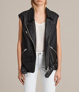Mujer Oversized Sleeveless Biker Jacket (Black) -