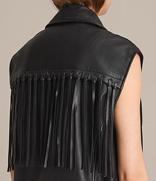 Womens Oversized Sleeveless Biker Jacket (Black) - product_image_alt_text_2