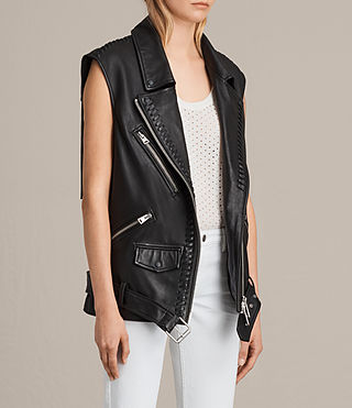 Womens Oversized Sleeveless Biker Jacket (Black) - product_image_alt_text_3