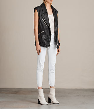 Womens Oversized Sleeveless Biker Jacket (Black) - product_image_alt_text_4