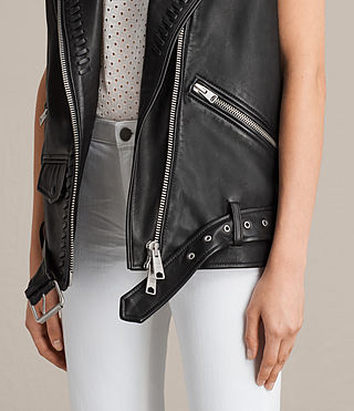 Womens Oversized Sleeveless Biker Jacket (Black) - product_image_alt_text_5
