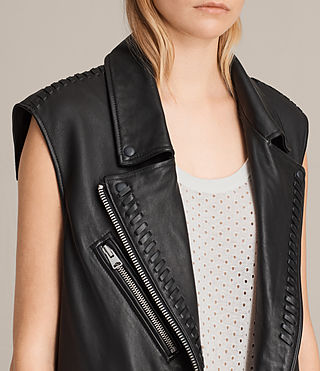 Womens Oversized Sleeveless Biker Jacket (Black) - product_image_alt_text_6