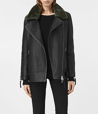 Mujer Tanser Leather Biker Jacket (Black)