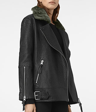 Femmes Tanser Leather Biker Jacket (Black) - product_image_alt_text_2