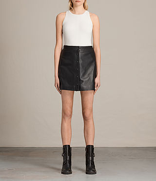 Mujer Setal Leather Skirt (Black) -