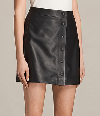 Mujer Setal Leather Skirt (Black) - product_image_alt_text_2