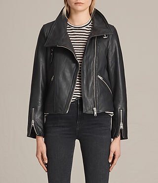 Women's Lewin Leather Biker Jacket (Black) -