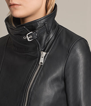 Women's Lewin Leather Biker Jacket (Black) - product_image_alt_text_2