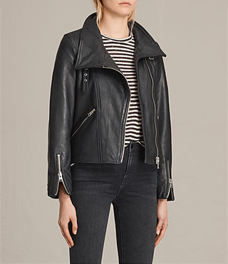 Women's Lewin Leather Biker Jacket (Black) - product_image_alt_text_3