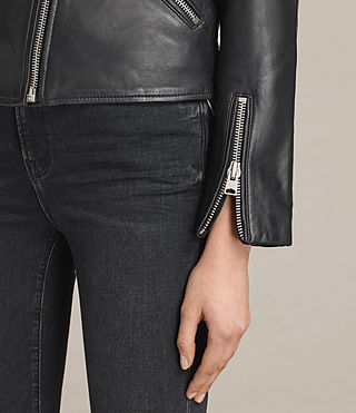 Women's Lewin Leather Biker Jacket (Black) - product_image_alt_text_4