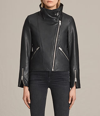Women's Lewin Leather Biker Jacket (Black) - product_image_alt_text_5