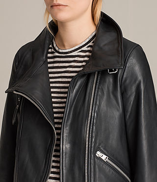 Women's Lewin Leather Biker Jacket (Black) - product_image_alt_text_6