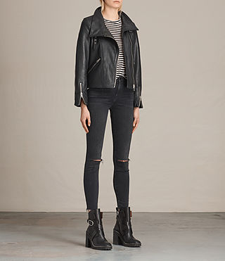 Women's Lewin Leather Biker Jacket (Black) - product_image_alt_text_7