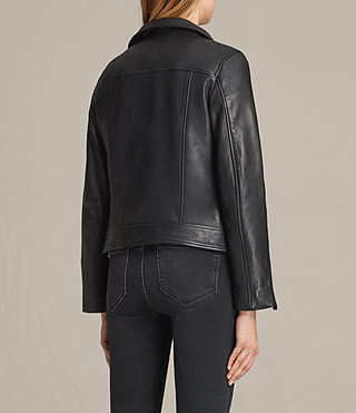 Women's Lewin Leather Biker Jacket (Black) - product_image_alt_text_8