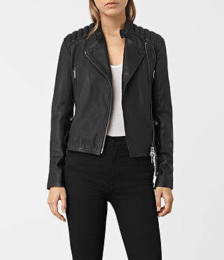 Women's Kerr Leather Biker Jacket (Black) -