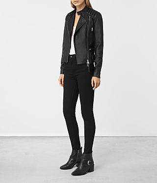 Women's Kerr Leather Biker Jacket (Black) - product_image_alt_text_2