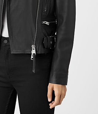 Women's Kerr Leather Biker Jacket (Black) - product_image_alt_text_3