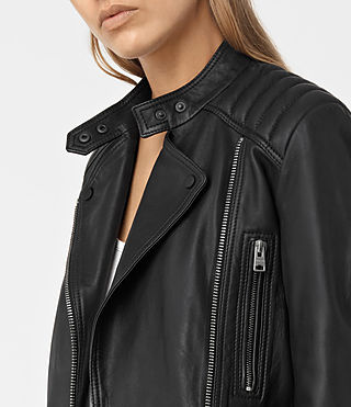 Women's Kerr Leather Biker Jacket (Black) - product_image_alt_text_4