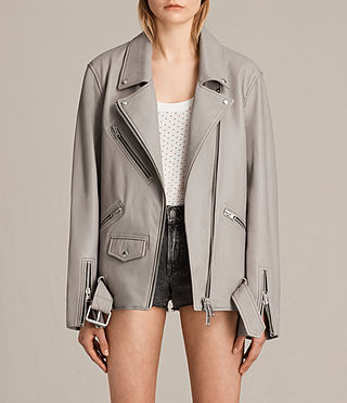 Women's Oversized Leather Biker Jacket (Pale Grey) -
