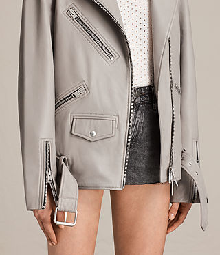Women's Oversized Leather Biker Jacket (Pale Grey) - product_image_alt_text_2