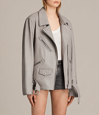 Women's Oversized Leather Biker Jacket (Pale Grey) - product_image_alt_text_3