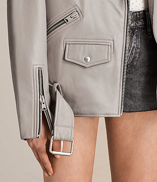 Women's Oversized Leather Biker Jacket (Pale Grey) - product_image_alt_text_5