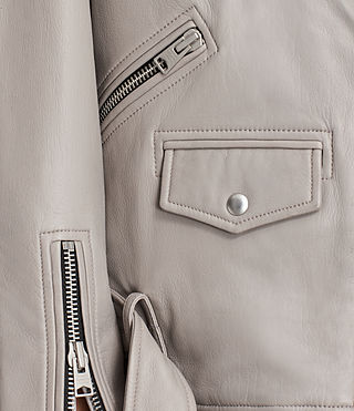 Women's Oversized Leather Biker Jacket (Pale Grey) - product_image_alt_text_6