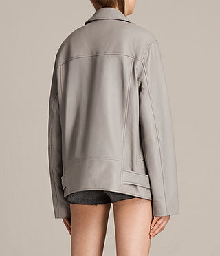 Women's Oversized Leather Biker Jacket (Pale Grey) - product_image_alt_text_7