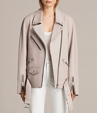 Women's Oversized Leather Biker Jacket (Wshd Pink) -