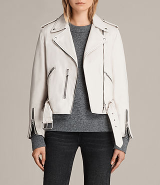 Women's Balfern Leather Biker Jacket (White) -
